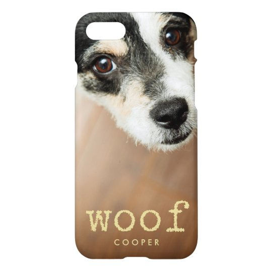 Woof Vintage Gold Typewriter Text for Dog Photo iPhone 8/7 Case