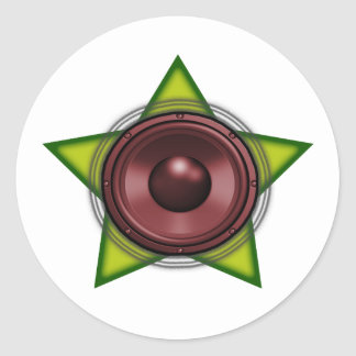 Woofer Rasta star Dub Reggae Dubstep Classic Round Sticker