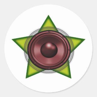 Woofer Rasta star Dub Reggae Dubstep Round Sticker