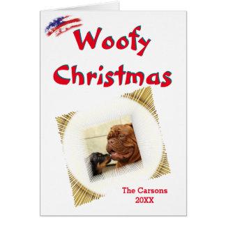 Woofy Christmas USA Vignette Photo Template Card