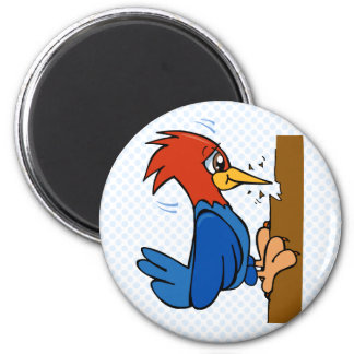 Woogy Woodpecker 6 Cm Round Magnet