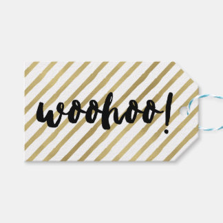 Woohoo | Black & Faux Gold Stripe Gift Tags