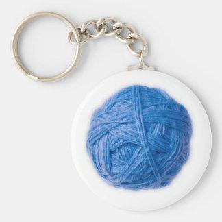 wool ball basic round button key ring