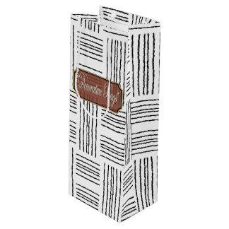 Wool Black White Wine Gift Bags