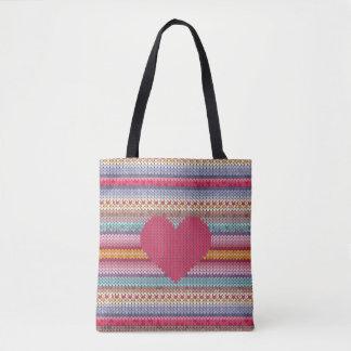 Woolen Heart Tote Bag