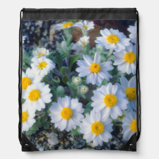 Woolly Daisy Wildflowers Drawstring Bag