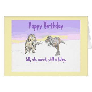 Woolly Mammoth and Dinosaur birthday card 60