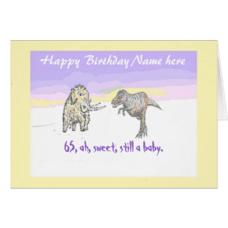 Woolly Mammoth and Dinosaur customize, birthday Greeting Card
