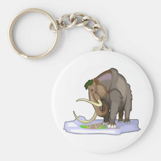 Woolly Mammoth Basic Round Button Key Ring