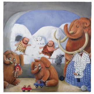Woolly Mammoth Family in Ice Age Napkin