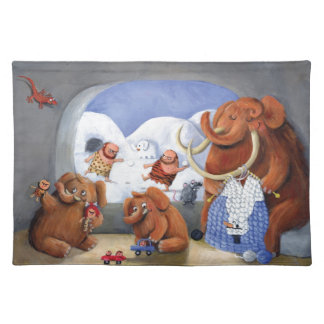 Woolly Mammoth Family in Ice Age Placemat