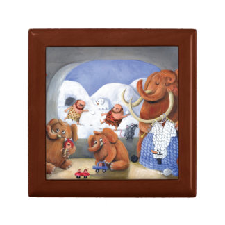 Woolly Mammoth Family in Ice Age Small Square Gift Box