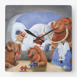 Woolly Mammoth Family in Ice Age Square Wall Clock