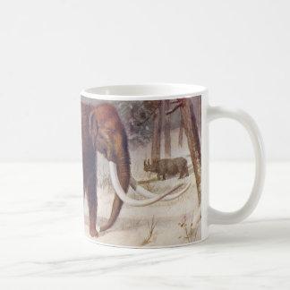 Woolly Mammoth Prehistoric Animal Antique Print Coffee Mug