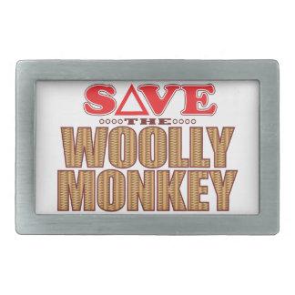 Woolly Monkey Save Rectangular Belt Buckle