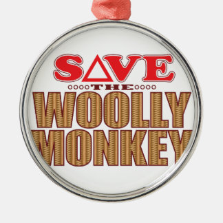 Woolly Monkey Save Silver-Colored Round Decoration