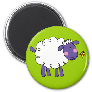 Woolly sheep 6 cm round magnet