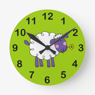 Woolly sheep round clock