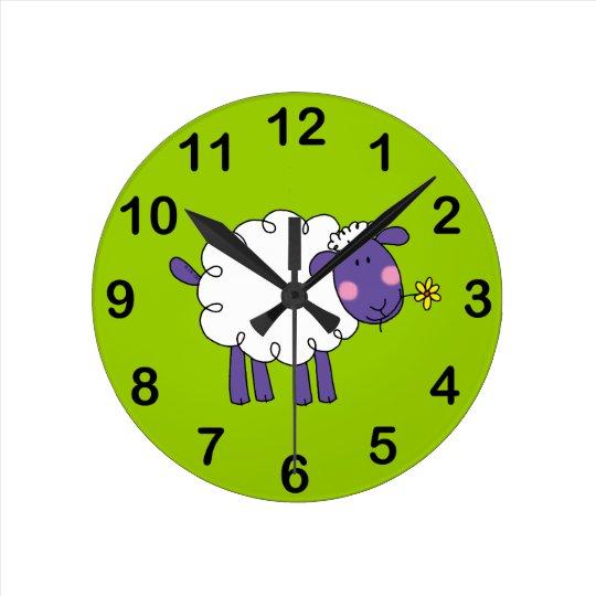 Woolly sheep round clock