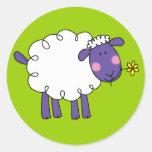 Woolly sheep round sticker