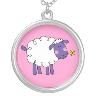 Woolly sheep silver plated necklace