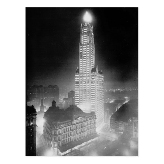 Woolworth Building at Night, 1920 Postcard