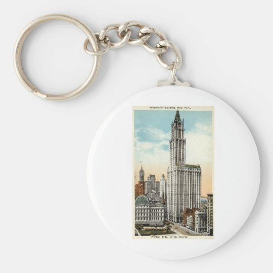 Woolworth Building New York Repro Vintage 1921 Basic Round Button Key Ring