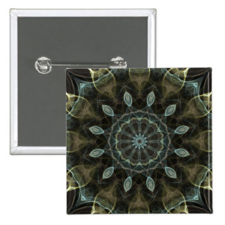 Wooly Green and Blue royal Kaleidoscope 15 Cm Square Badge