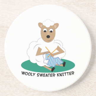 Wooly Sweater Knitter Drink Coasters