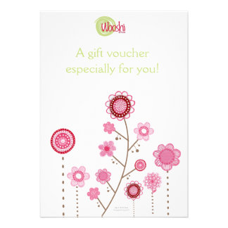 Wooshi Childrens Store Gift Voucher Certificate Custom Invites
