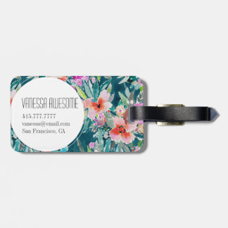 WOOT Colorful Tropical Floral Watercolor Luggage Tag
