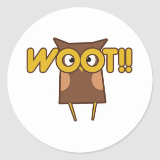 Woot Congrats Owl Classic Round Sticker