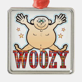 Woozy Fat Man Silver-Colored Square Decoration