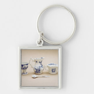 Worcester cream boat, cream jug Silver-Colored square key ring