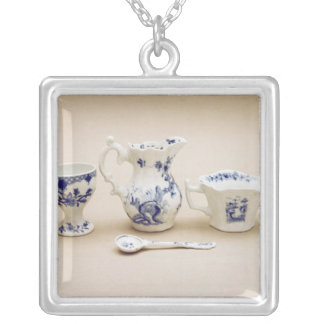 Worcester cream boat, cream jug silver plated necklace