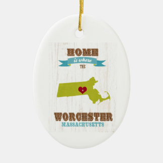 Worcester, Massachusetts Map – Home Is Where Christmas Ornament