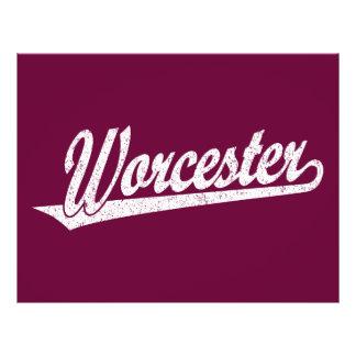 Worcester script logo in white distressed 21.5 cm x 28 cm flyer