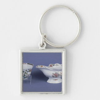 Worcester shaped oval sauce boat and octagonal Silver-Colored square key ring