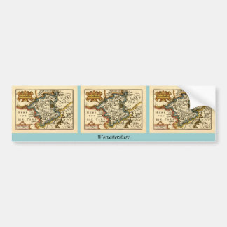 Worcestershire County Map, England Bumper Sticker