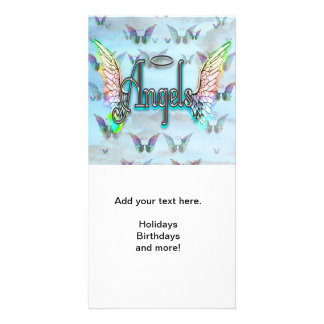 Word Art Angel with Wings & Halo - Rainbow colored Photo Greeting Card