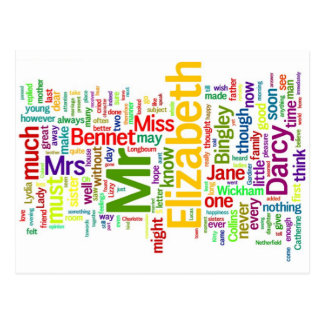 Word Art from Jane Austen's Pride and Prejudice Postcard