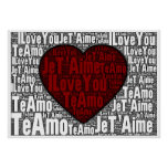 """Word Art: """"I Love You"""" 3 languages - Red Heart Poster"""