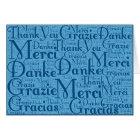Word Art: Thank You in Multi Languages - Aqua Blue Card