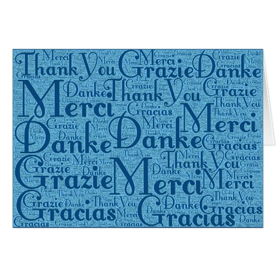 Word Art: Thank You in Multi Languages - Aqua Blue Card
