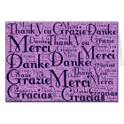 Word Art: Thank You in Multi Languages - Pink Navy Card