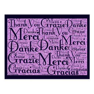 Word Art: Thank You in Multi Languages - Pink Navy Postcard