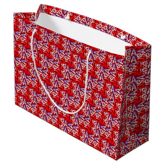 Word Art USA Text,Red-GIFT BAG L