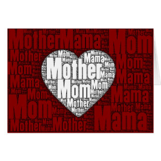Word Art: Valentine for Mother Greeting Card