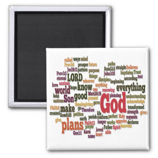 Word Cloud for Top 10 Bible Verses Square Magnet