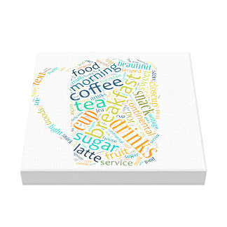Word cloud illustration related to coffee gallery wrap canvas